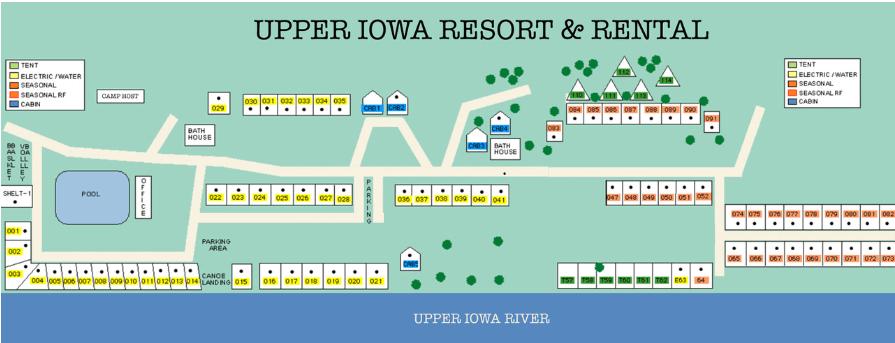 Map Upper Iowa Resort & Rental Grounds