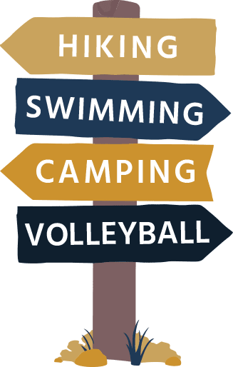 Hiking, Swimming, Camping, and Volleyball Camping Sign