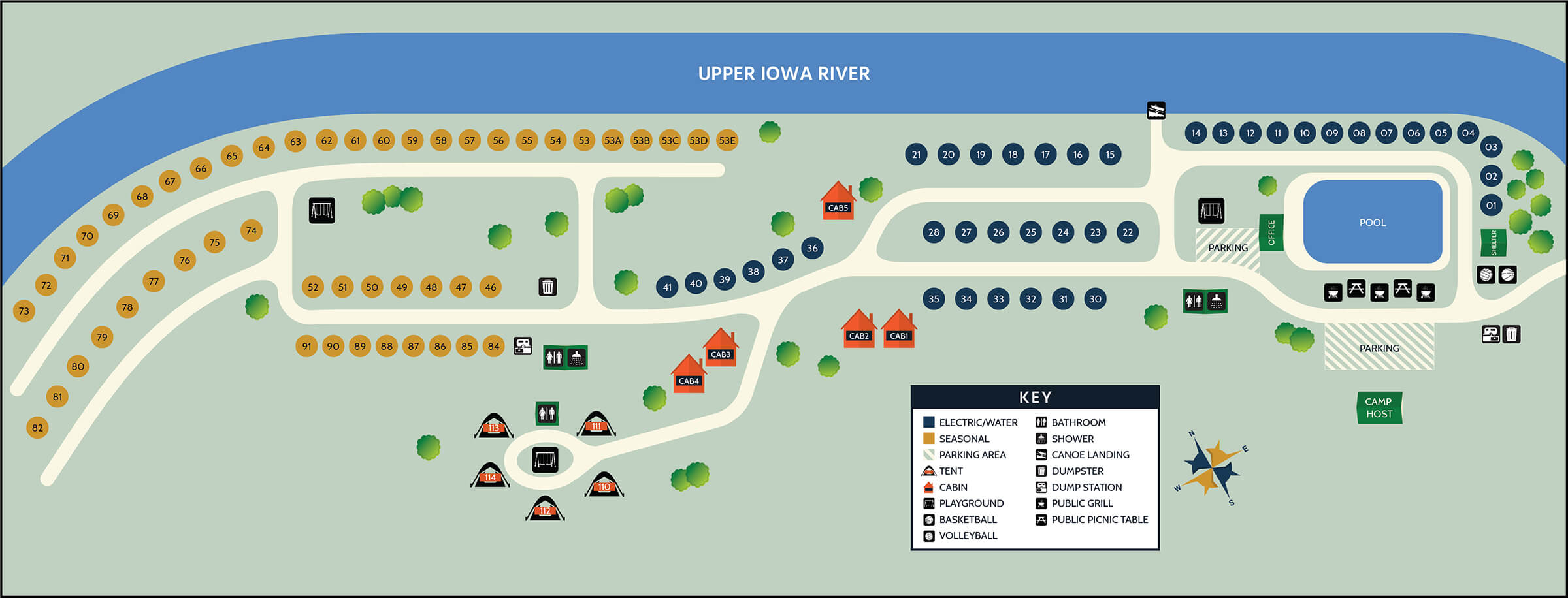 Map of the campgrounds at Upper Iowa Resort